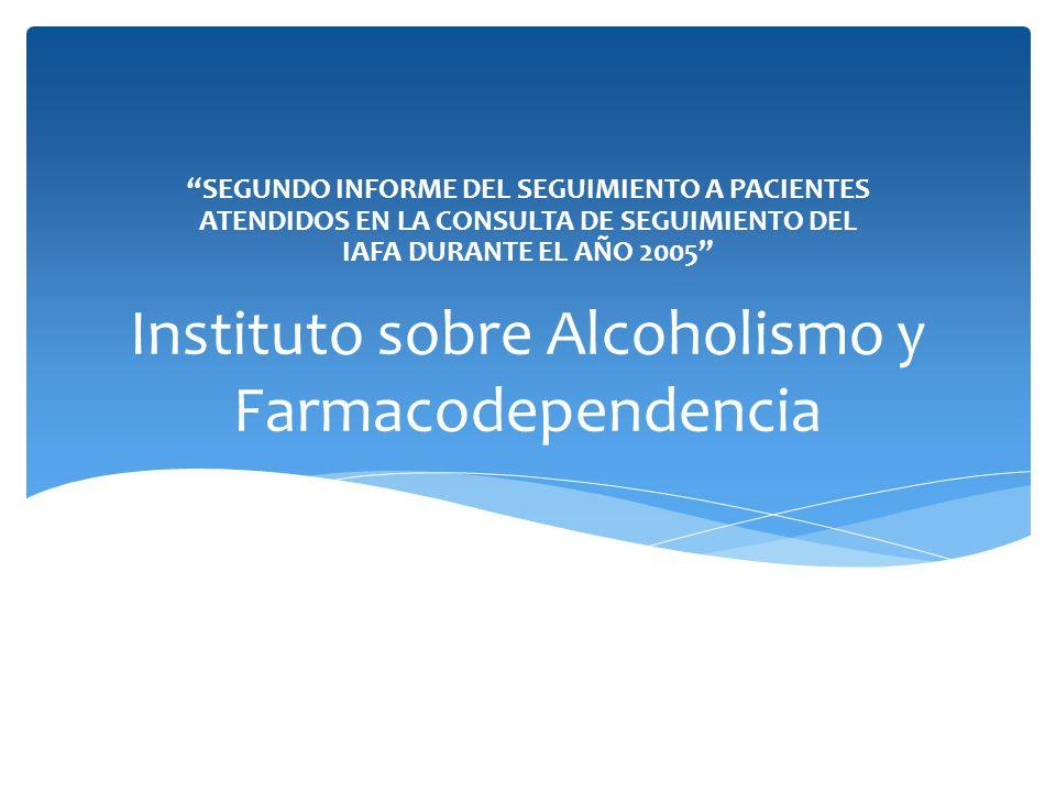 Instituto sobre Alcoholismo y Farmacodependencia SEGUNDO INFORME DEL SEGUIMIENTO A PACIENTES ATENDIDOS EN LA CONSULTA DE SEGUIMIENTO DEL IAFA DURANTE