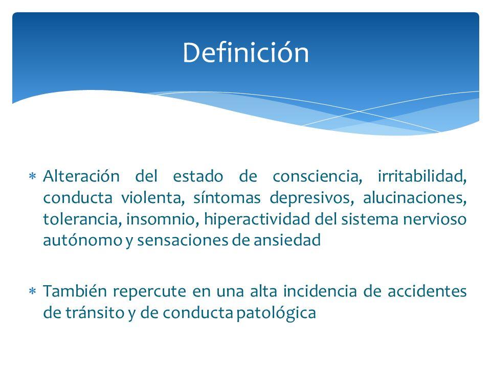 Alteración del estado de consciencia, irritabilidad, conducta violenta, síntomas depresivos, alucinaciones, tolerancia, insomnio, hiperactividad del s