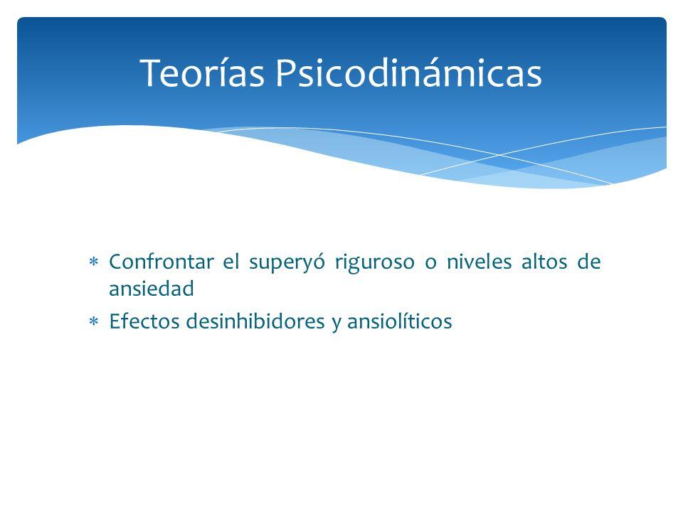 Confrontar el superyó riguroso o niveles altos de ansiedad Efectos desinhibidores y ansiolíticos Teorías Psicodinámicas
