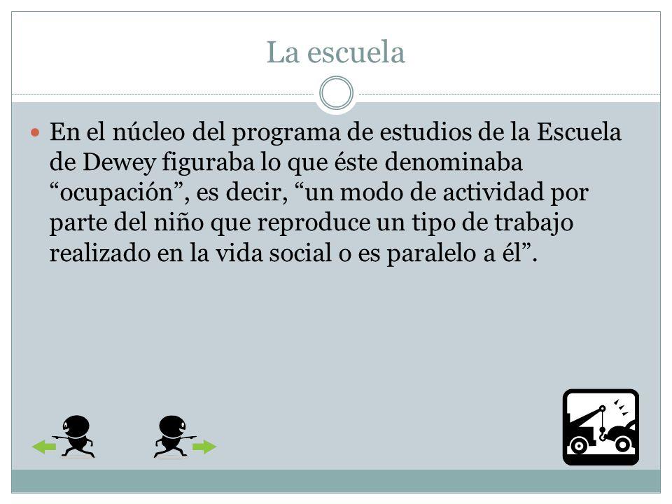 La escuela La institución pronto se conoció con el nombre de Escuela de Dewey ya que las hipótesis que se experimentaban en ese laboratorio eran estrictamente las de la psicología funcional y la ética democrática de Dewey.