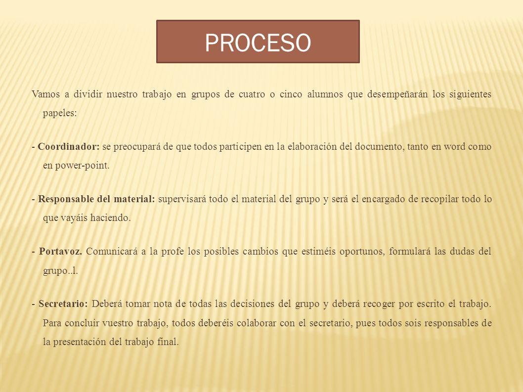 PROCESO Vamos a dividir nuestro trabajo en grupos de cuatro o cinco alumnos que desempeñarán los siguientes papeles: - Coordinador: se preocupará de q