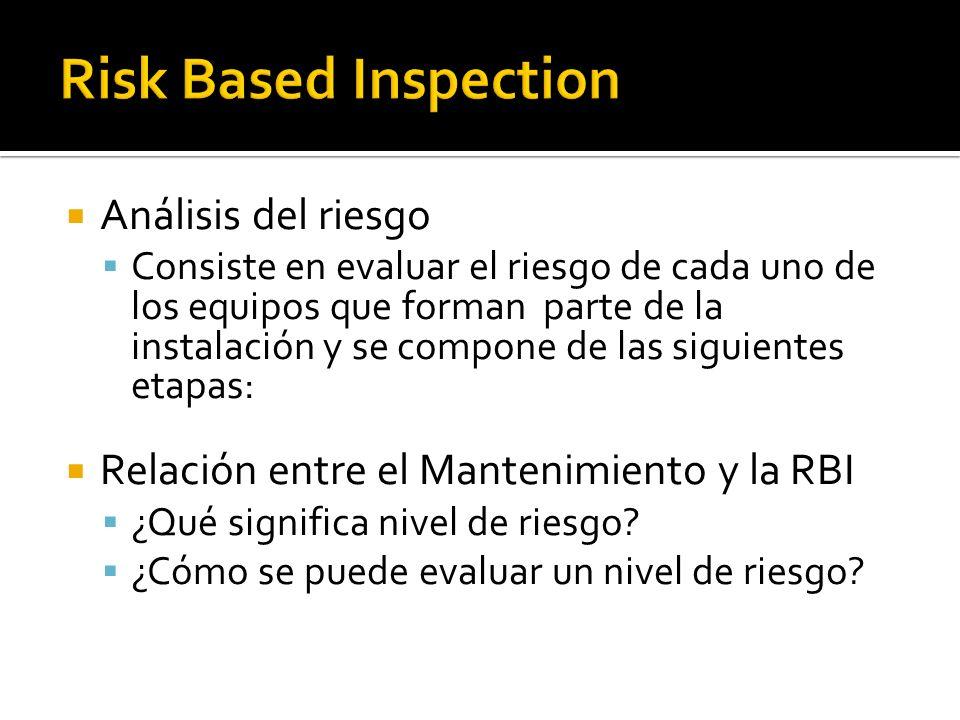 Análisis del riesgo Consiste en evaluar el riesgo de cada uno de los equipos que forman parte de la instalación y se compone de las siguientes etapas: