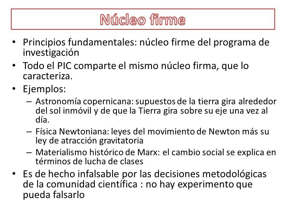 Principios fundamentales: núcleo firme del programa de investigación Todo el PIC comparte el mismo núcleo firma, que lo caracteriza. Ejemplos: – Astro