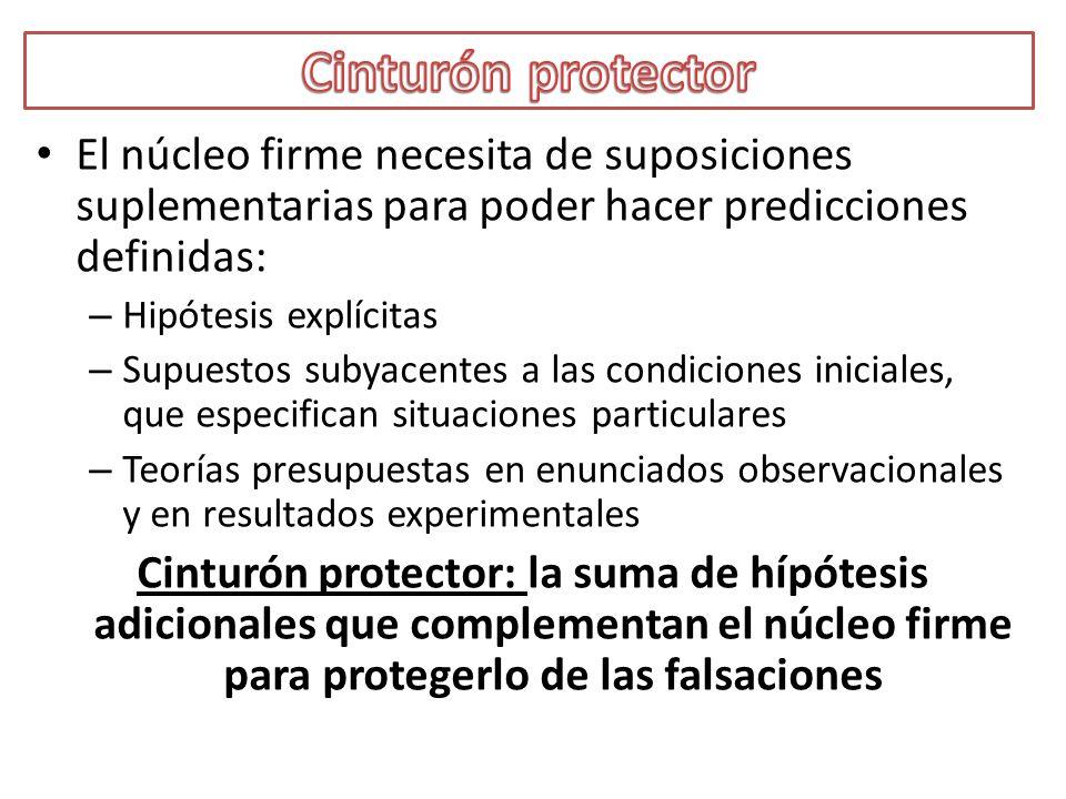 El núcleo firme necesita de suposiciones suplementarias para poder hacer predicciones definidas: – Hipótesis explícitas – Supuestos subyacentes a las