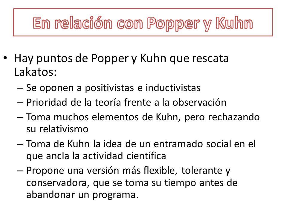 Hay puntos de Popper y Kuhn que rescata Lakatos: – Se oponen a positivistas e inductivistas – Prioridad de la teoría frente a la observación – Toma mu