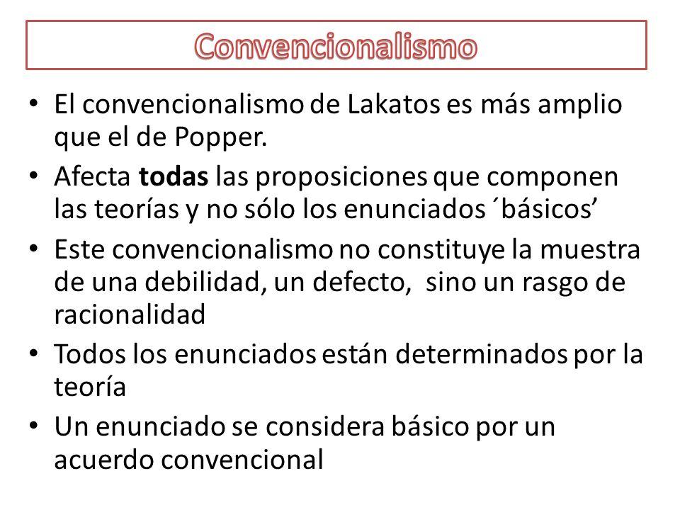 El convencionalismo de Lakatos es más amplio que el de Popper. Afecta todas las proposiciones que componen las teorías y no sólo los enunciados ´básic