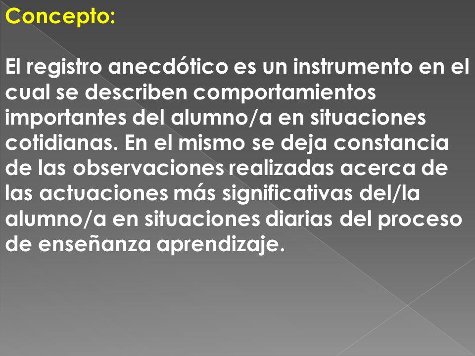 Concepto: El registro anecdótico es un instrumento en el cual se describen comportamientos importantes del alumno/a en situaciones cotidianas. En el m