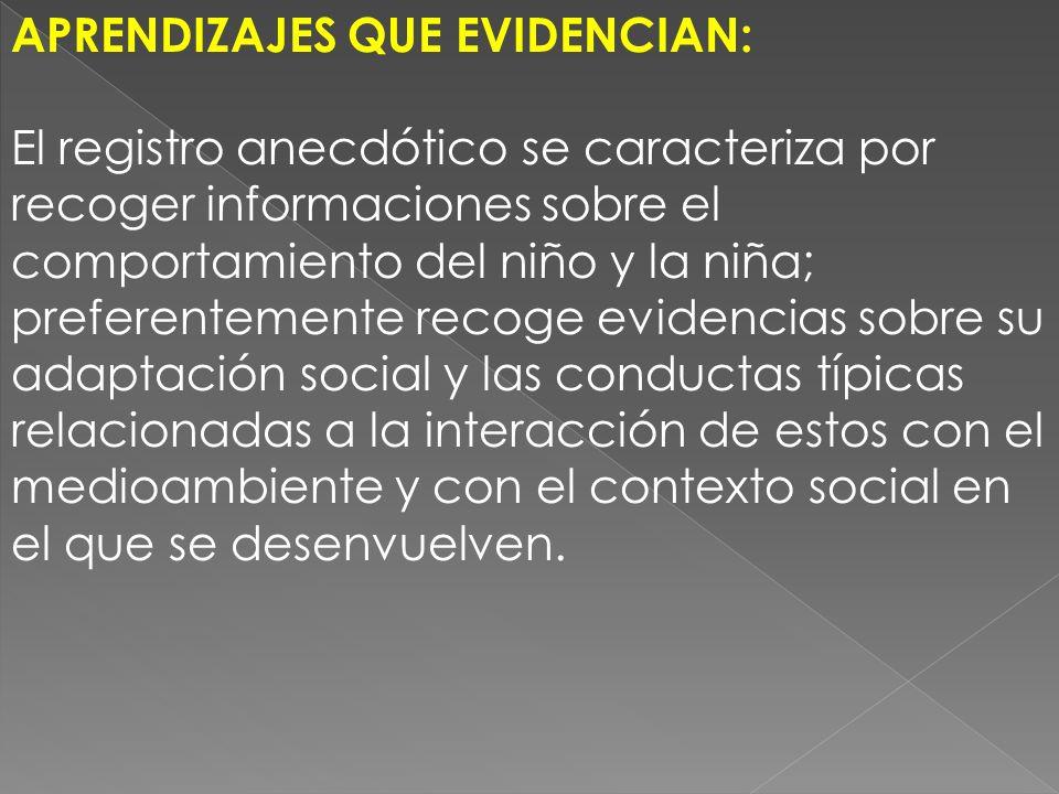 APRENDIZAJES QUE EVIDENCIAN: El registro anecdótico se caracteriza por recoger informaciones sobre el comportamiento del niño y la niña; preferentemen