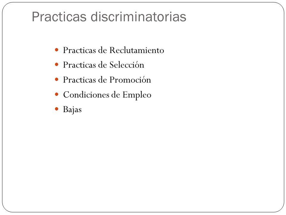 Practicas discriminatorias Practicas de Reclutamiento Practicas de Selección Practicas de Promoción Condiciones de Empleo Bajas