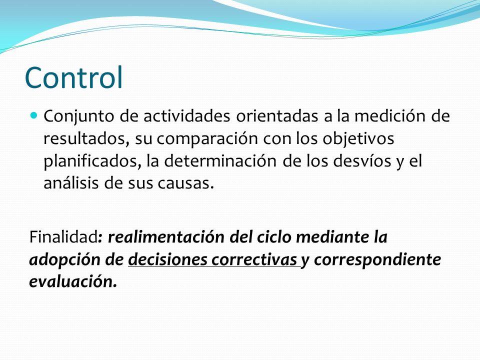 Control Conjunto de actividades orientadas a la medición de resultados, su comparación con los objetivos planificados, la determinación de los desvíos