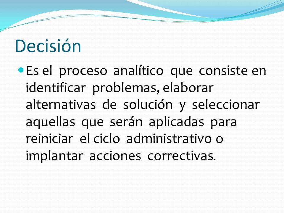Decisión Es el proceso analítico que consiste en identificar problemas, elaborar alternativas de solución y seleccionar aquellas que serán aplicadas p