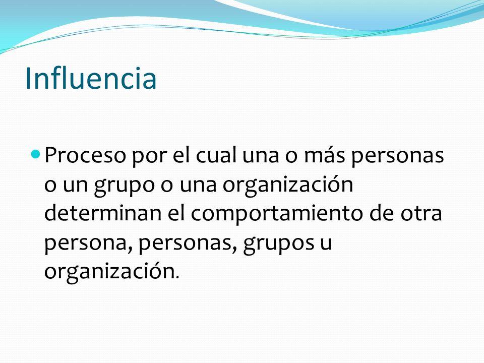 Influencia Proceso por el cual una o más personas o un grupo o una organización determinan el comportamiento de otra persona, personas, grupos u organ