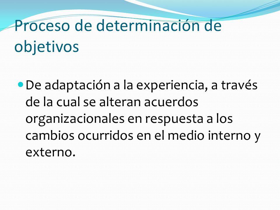 Proceso de determinación de objetivos De adaptación a la experiencia, a través de la cual se alteran acuerdos organizacionales en respuesta a los camb