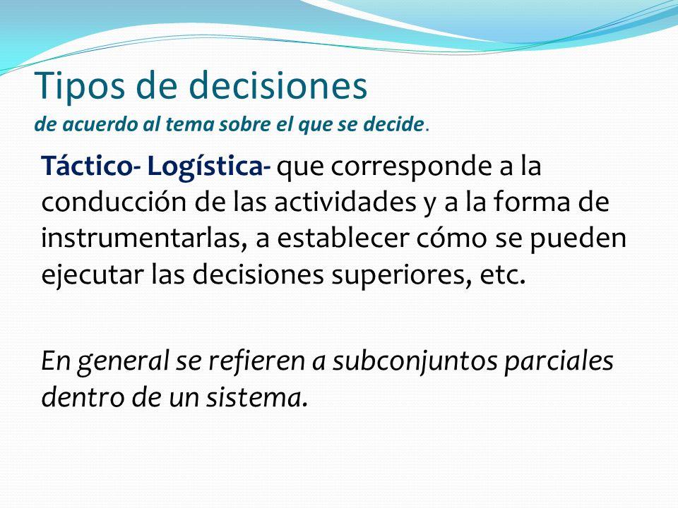 Tipos de decisiones de acuerdo al tema sobre el que se decide. Táctico- Logística- que corresponde a la conducción de las actividades y a la forma de