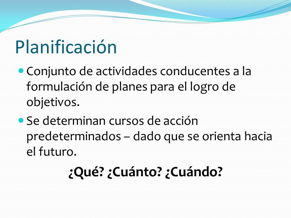 Planificación Conjunto de actividades conducentes a la formulación de planes para el logro de objetivos. Se determinan cursos de acción predeterminado