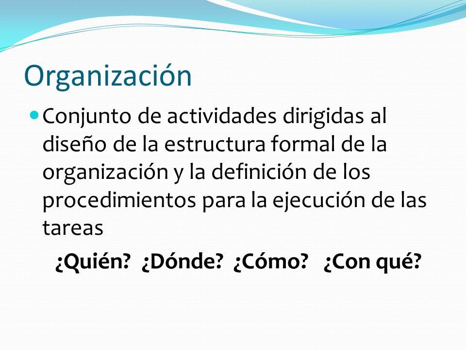 Organización Conjunto de actividades dirigidas al diseño de la estructura formal de la organización y la definición de los procedimientos para la ejec
