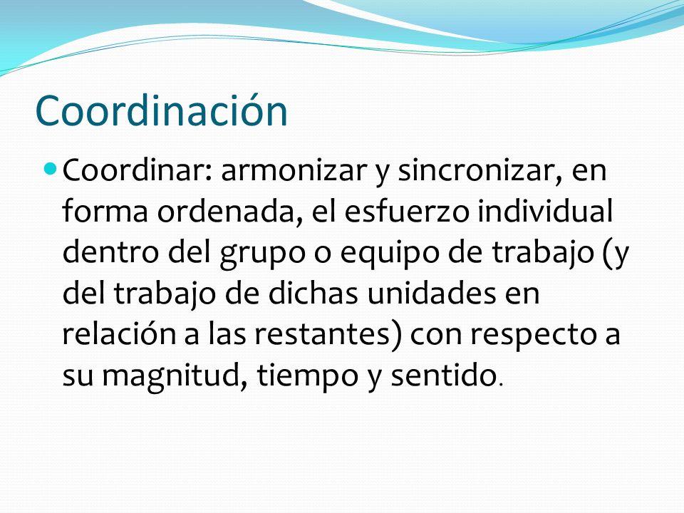 Coordinación Coordinar: armonizar y sincronizar, en forma ordenada, el esfuerzo individual dentro del grupo o equipo de trabajo (y del trabajo de dich