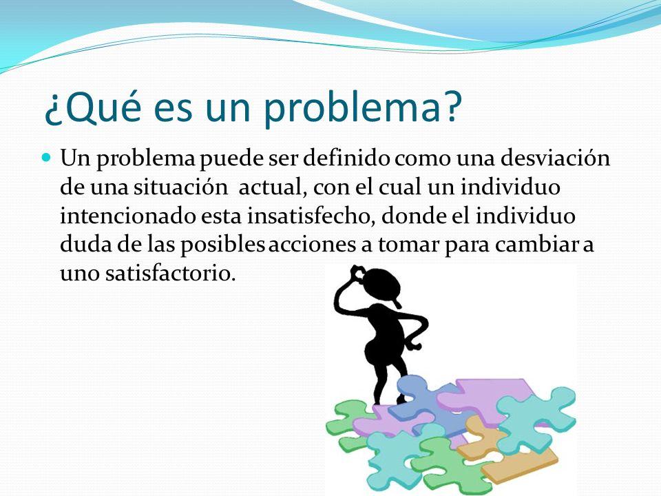 ¿Qué es un problema? Un problema puede ser definido como una desviación de una situación actual, con el cual un individuo intencionado esta insatisfec
