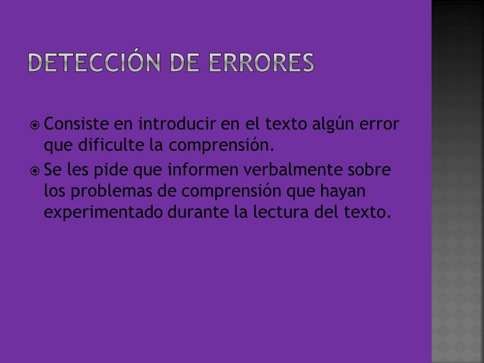 Consiste en introducir en el texto algún error que dificulte la comprensión. Se les pide que informen verbalmente sobre los problemas de comprensión q