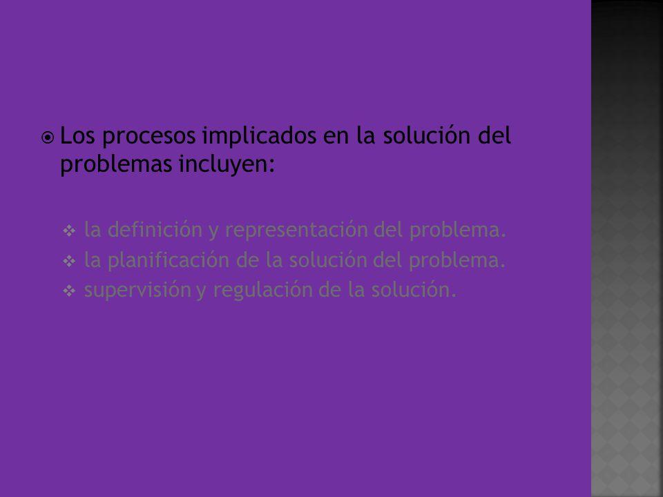 Los procesos implicados en la solución del problemas incluyen: la definición y representación del problema. la planificación de la solución del proble