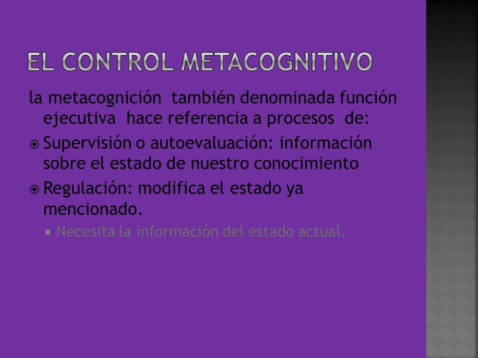 la metacognición también denominada función ejecutiva hace referencia a procesos de: Supervisión o autoevaluación: información sobre el estado de nues