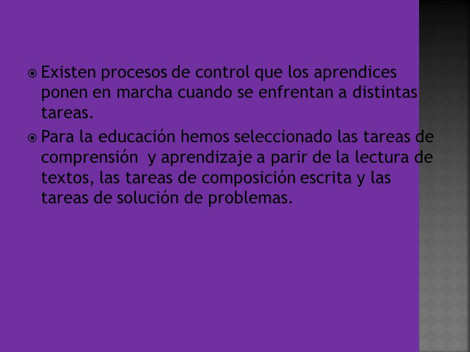 Existen procesos de control que los aprendices ponen en marcha cuando se enfrentan a distintas tareas. Para la educación hemos seleccionado las tareas
