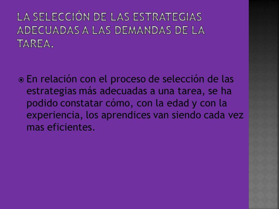 En relación con el proceso de selección de las estrategias más adecuadas a una tarea, se ha podido constatar cómo, con la edad y con la experiencia, l