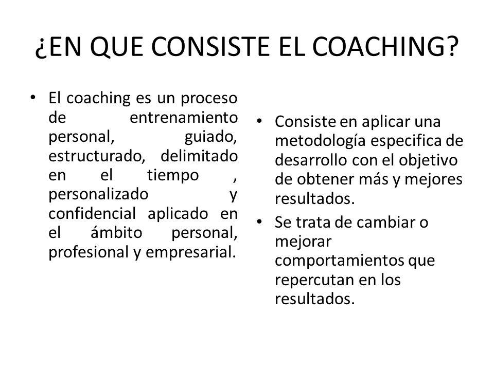 ¿EN QUE CONSISTE EL COACHING? El coaching es un proceso de entrenamiento personal, guiado, estructurado, delimitado en el tiempo, personalizado y conf