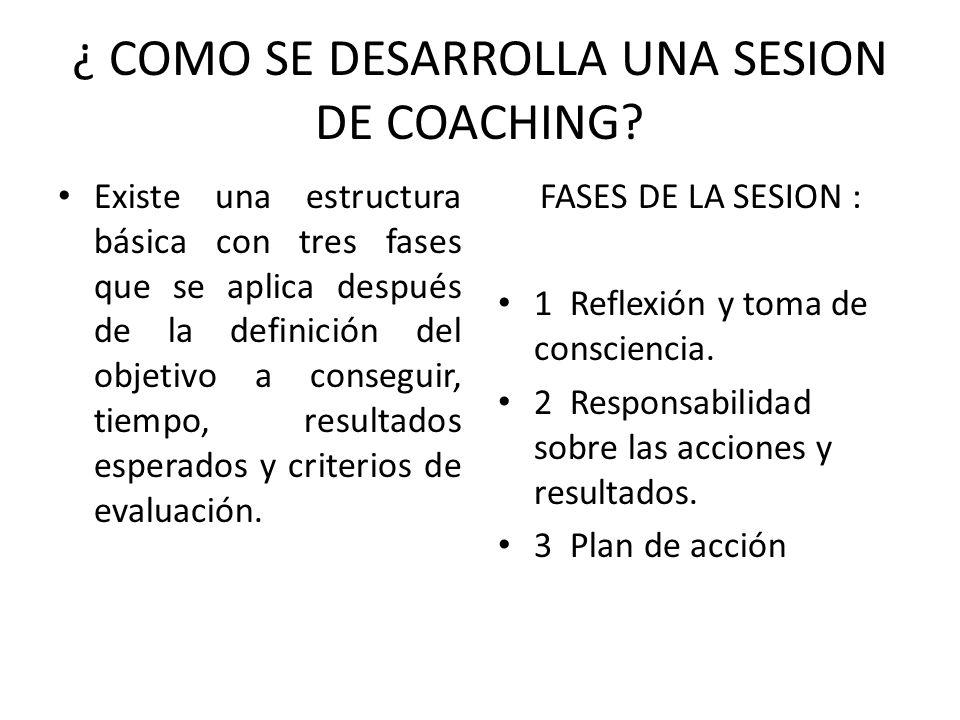 ¿ COMO SE DESARROLLA UNA SESION DE COACHING? Existe una estructura básica con tres fases que se aplica después de la definición del objetivo a consegu