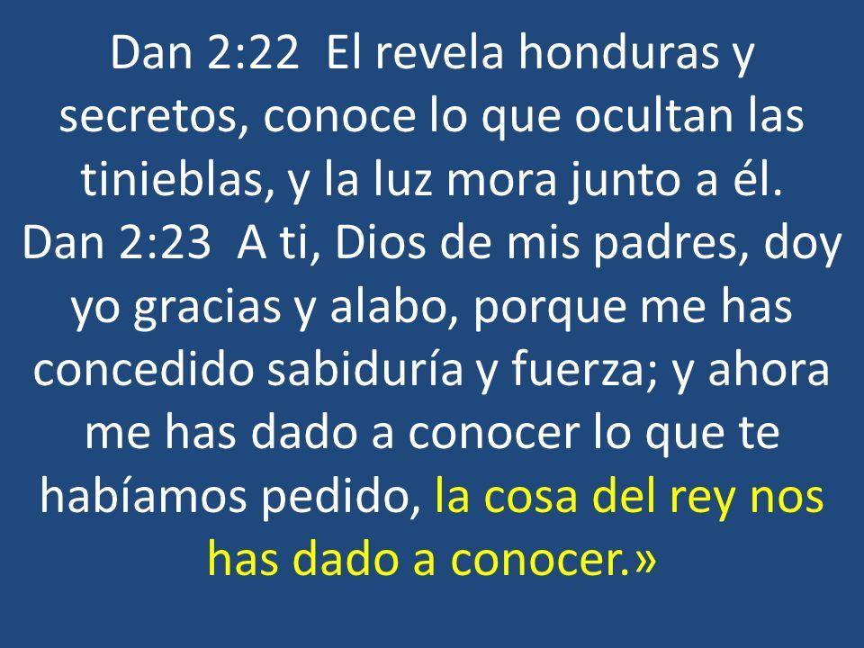 Dan 2:22 El revela honduras y secretos, conoce lo que ocultan las tinieblas, y la luz mora junto a él. Dan 2:23 A ti, Dios de mis padres, doy yo graci