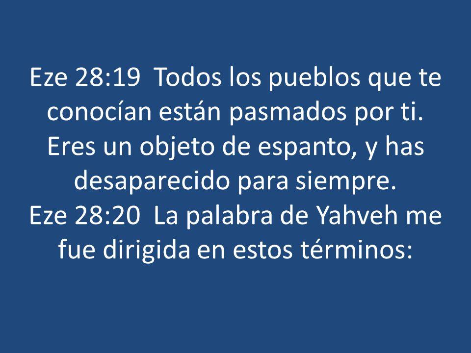 Eze 28:19 Todos los pueblos que te conocían están pasmados por ti. Eres un objeto de espanto, y has desaparecido para siempre. Eze 28:20 La palabra de