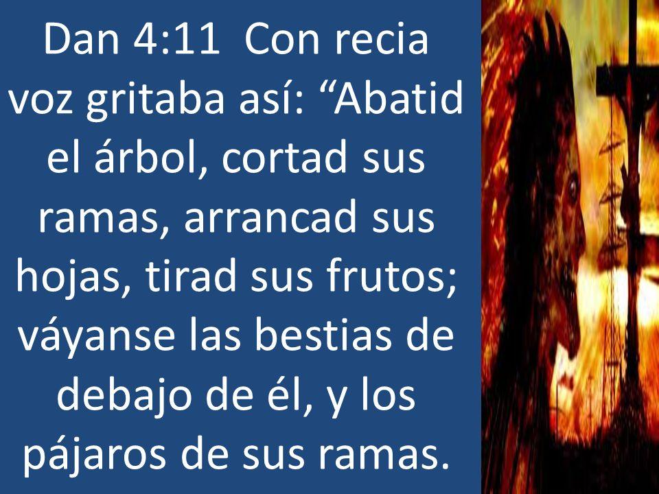 Dan 4:11 Con recia voz gritaba así: Abatid el árbol, cortad sus ramas, arrancad sus hojas, tirad sus frutos; váyanse las bestias de debajo de él, y lo