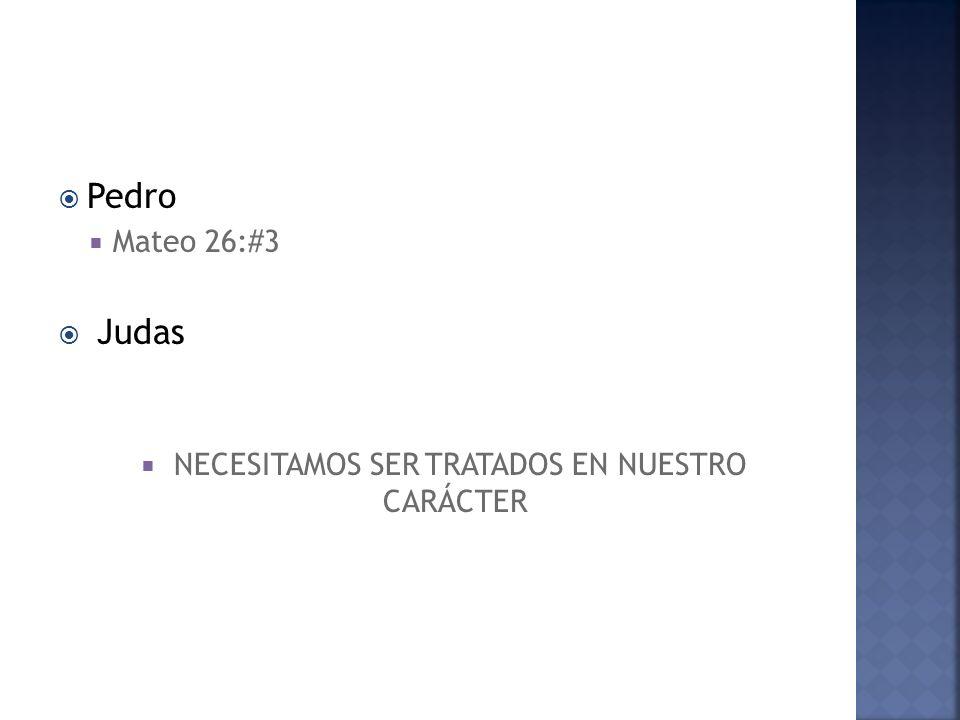 Pedro Mateo 26:#3 Judas NECESITAMOS SER TRATADOS EN NUESTRO CARÁCTER