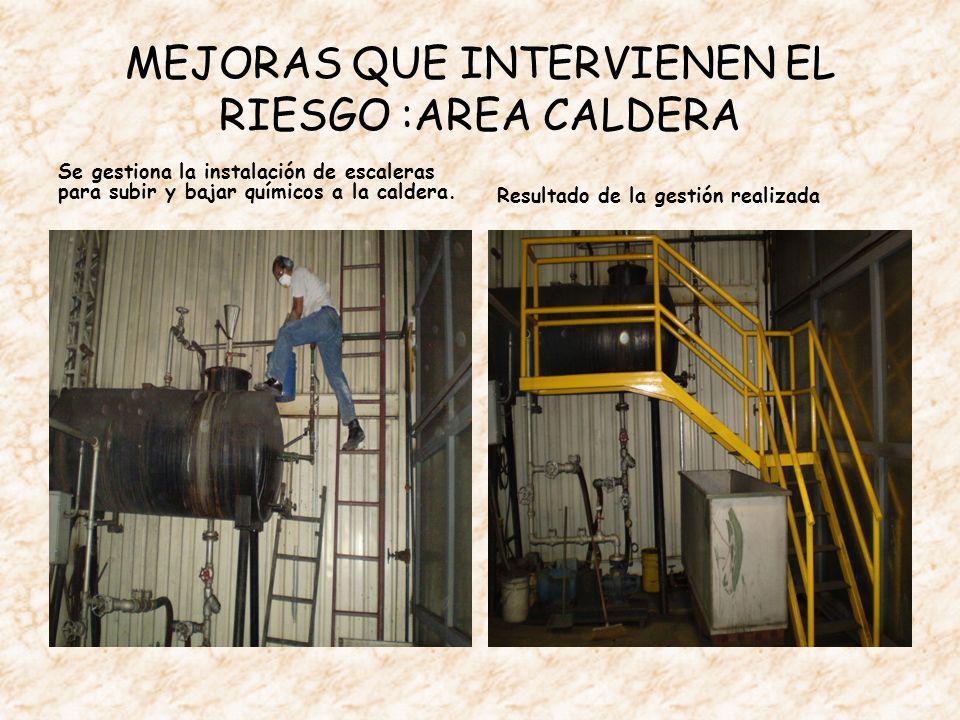 MEJORAS QUE INTERVIENEN EL RIESGO :AREA CALDERA Se gestiona la instalación de escaleras para subir y bajar químicos a la caldera.