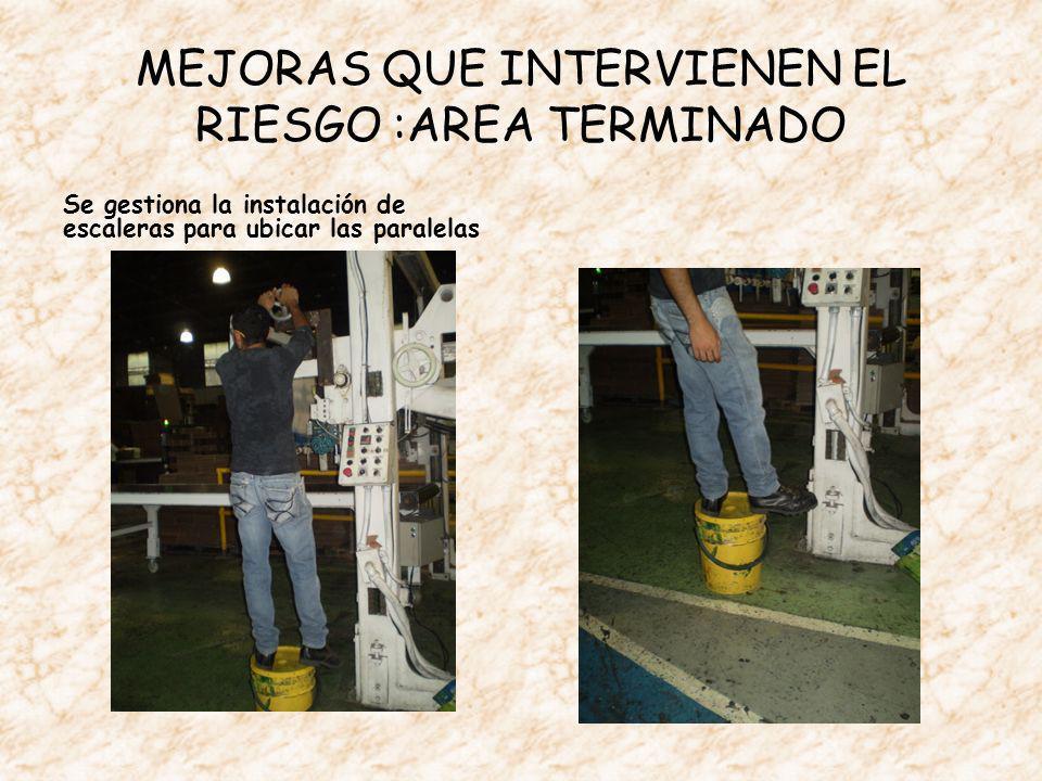 MEJORAS QUE INTERVIENEN EL RIESGO :AREA TERMINADO Se gestiona la instalación de escaleras para ubicar las paralelas