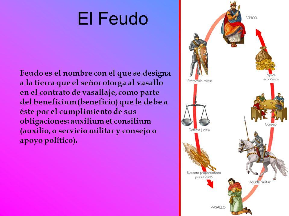 El Feudo Feudo es el nombre con el que se designa a la tierra que el señor otorga al vasallo en el contrato de vasallaje, como parte del beneficium (b