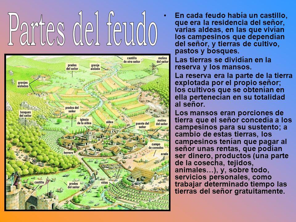 En cada feudo había un castillo, que era la residencia del señor, varias aldeas, en las que vivían los campesinos que dependían del señor, y tierras d