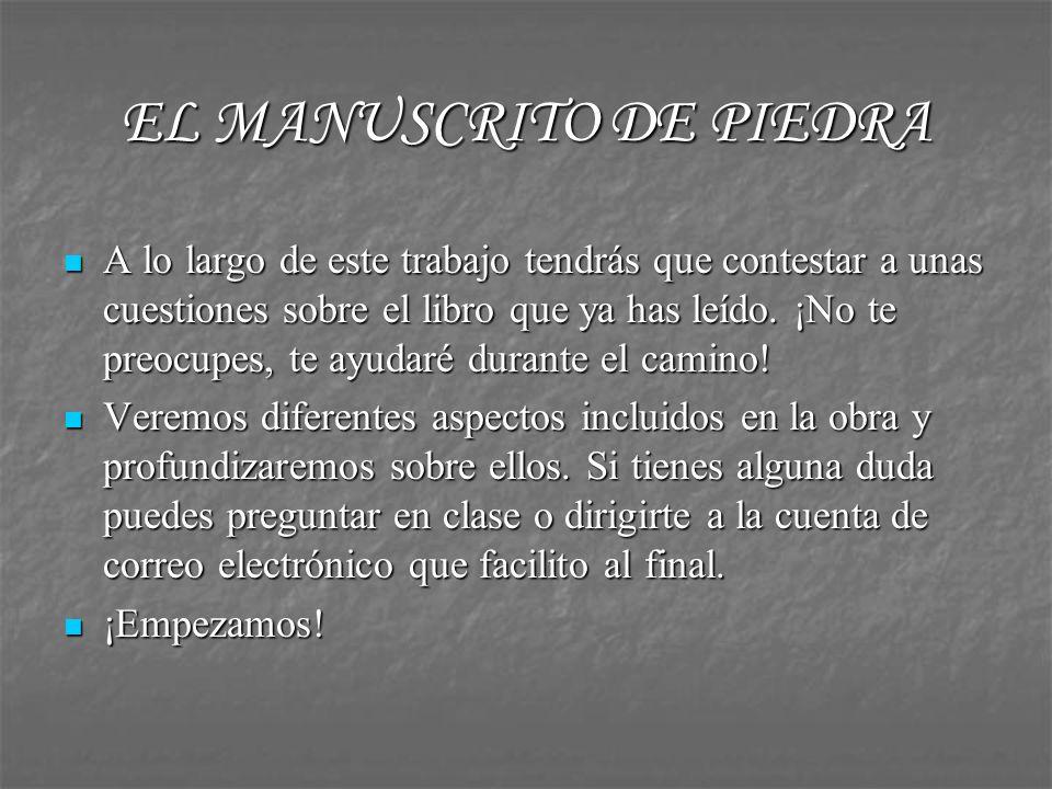 EL MANUSCRITO DE PIEDRA Elige entre los siguientes personajes del libro uno de ellos y busca información sobre su existencia real y literaria, elaborando una pequeña reseña biográfica: Juan del Encina, Avicena y Pedro de Osuna.