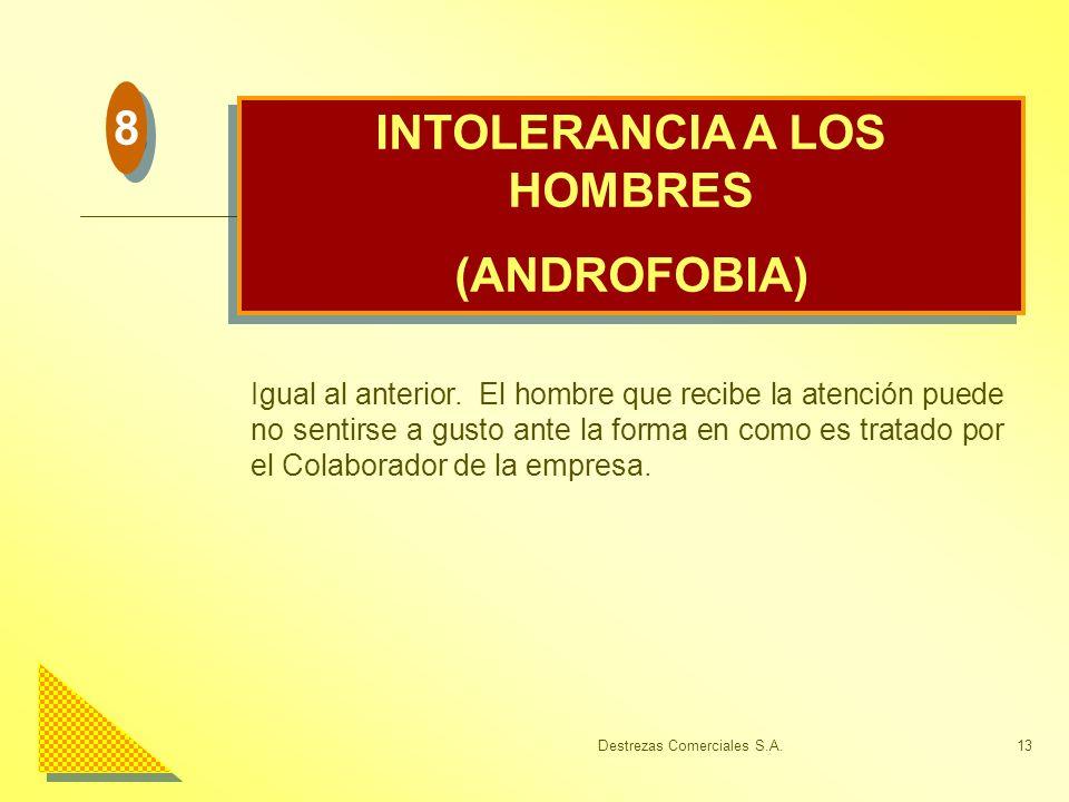Destrezas Comerciales S.A.13 INTOLERANCIA A LOS HOMBRES (ANDROFOBIA) INTOLERANCIA A LOS HOMBRES (ANDROFOBIA) Igual al anterior. El hombre que recibe l