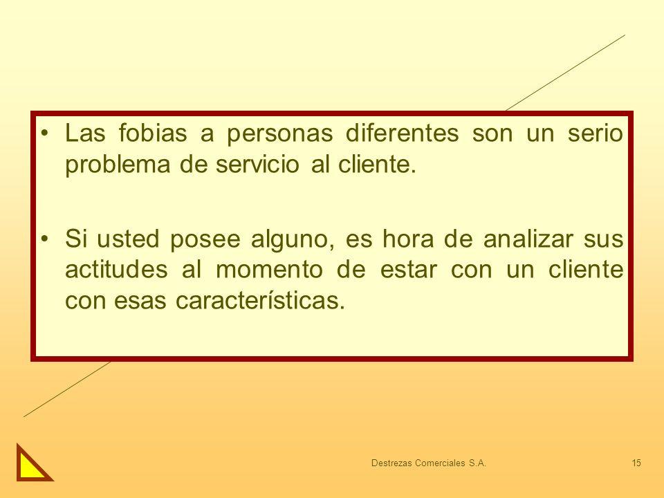 Destrezas Comerciales S.A.15 Las fobias a personas diferentes son un serio problema de servicio al cliente. Si usted posee alguno, es hora de analizar