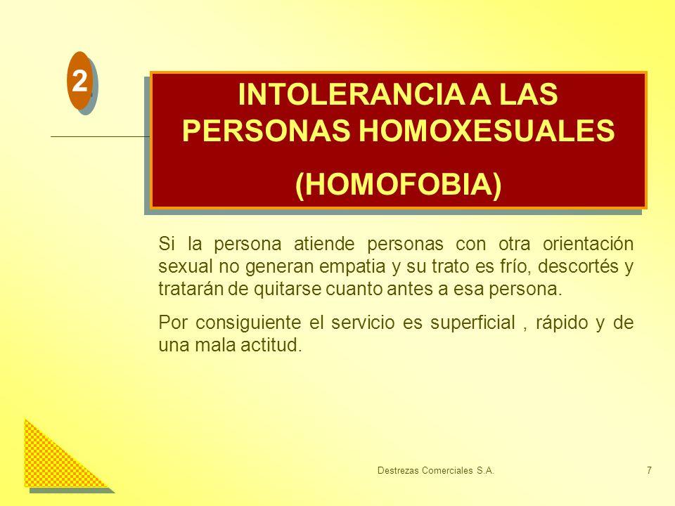 Destrezas Comerciales S.A.7 INTOLERANCIA A LAS PERSONAS HOMOXESUALES (HOMOFOBIA) INTOLERANCIA A LAS PERSONAS HOMOXESUALES (HOMOFOBIA) Si la persona at