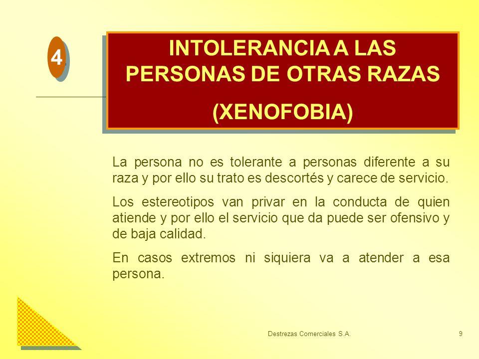 Destrezas Comerciales S.A.9 INTOLERANCIA A LAS PERSONAS DE OTRAS RAZAS (XENOFOBIA) INTOLERANCIA A LAS PERSONAS DE OTRAS RAZAS (XENOFOBIA) La persona n