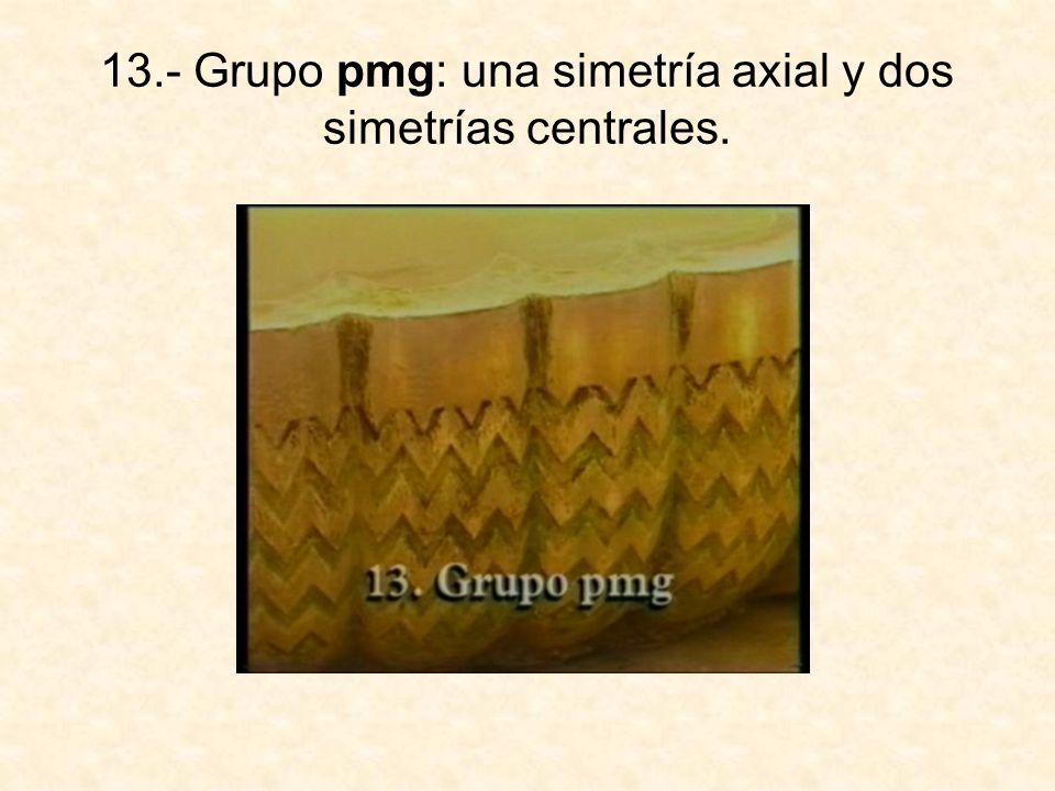 13.- Grupo pmg: una simetría axial y dos simetrías centrales.