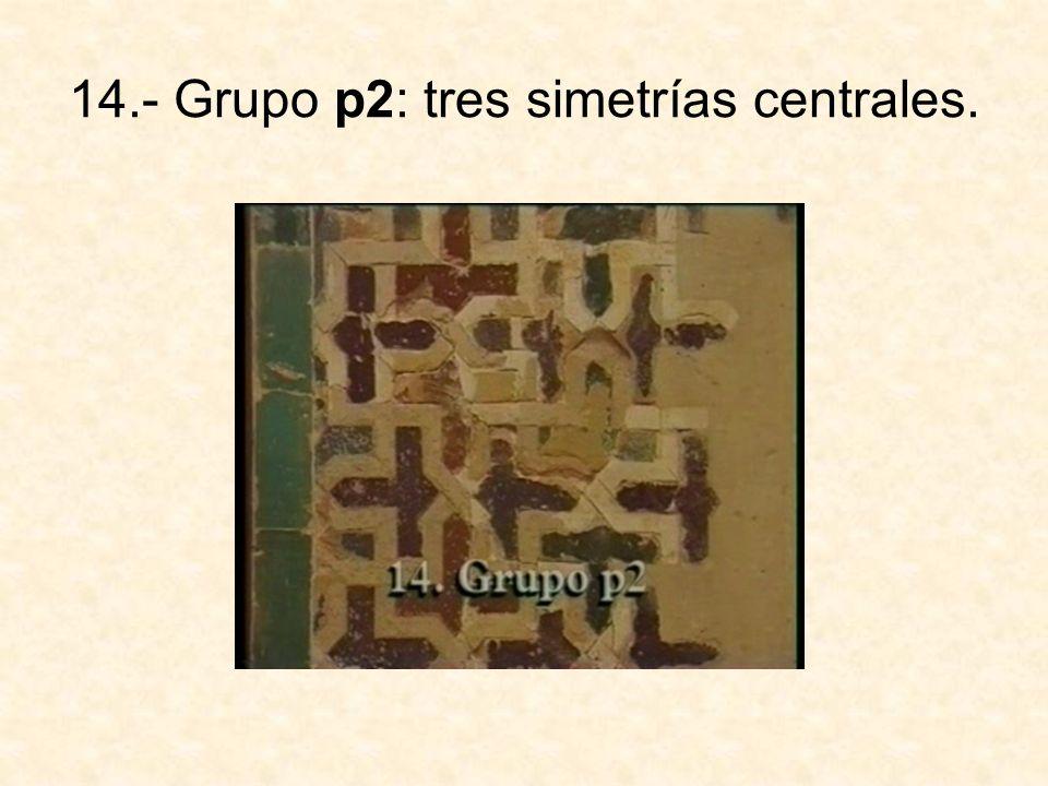 15.- Grupo pg: dos simetrías con deslizamiento paralelas.
