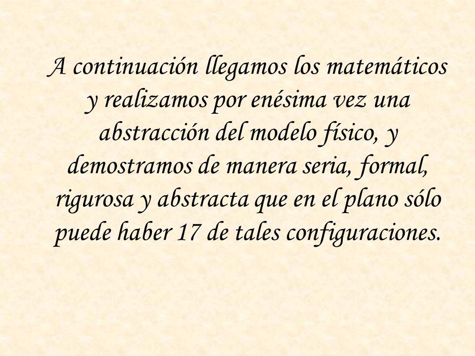 A continuación llegamos los matemáticos y realizamos por enésima vez una abstracción del modelo físico, y demostramos de manera seria, formal, riguros