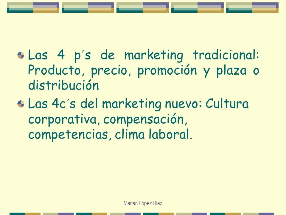 Marián López Díaz Las 4 p´s de marketing tradicional: Producto, precio, promoción y plaza o distribución Las 4c´s del marketing nuevo: Cultura corpora