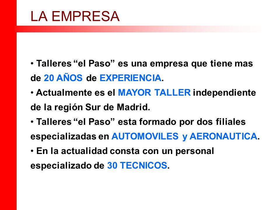 LA EMPRESA Talleres el Paso es una empresa que tiene mas de 20 AÑOS de EXPERIENCIA.