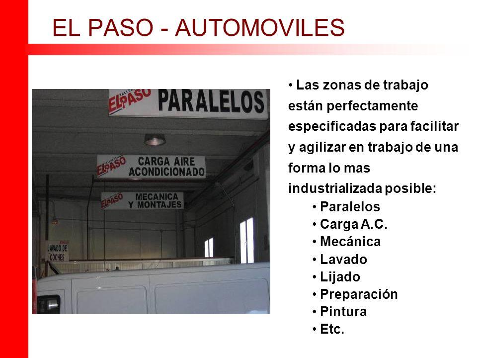 EL PASO - AUTOMOVILES Las zonas de trabajo están perfectamente especificadas para facilitar y agilizar en trabajo de una forma lo mas industrializada posible: Paralelos Carga A.C.