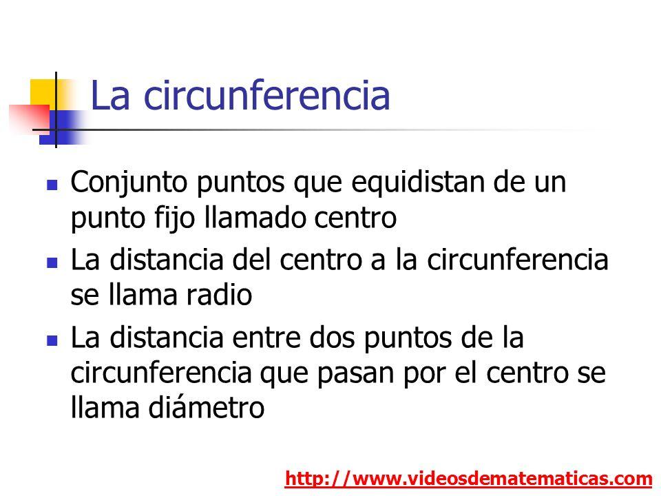 La circunferencia http://www.videosdematematicas.com Conjunto puntos que equidistan de un punto fijo llamado centro La distancia del centro a la circunferencia se llama radio La distancia entre dos puntos de la circunferencia que pasan por el centro se llama diámetro