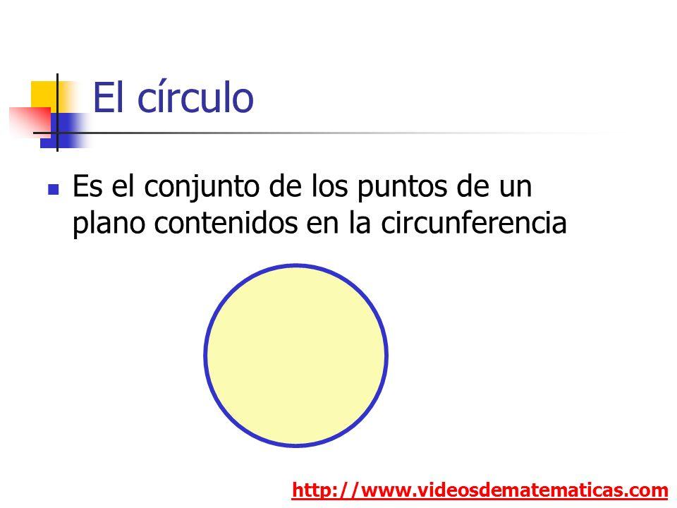 El círculo http://www.videosdematematicas.com Es el conjunto de los puntos de un plano contenidos en la circunferencia